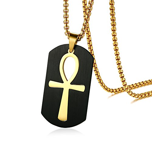 PJ Jewelry Mens Stainless Steel Ancient Egyptian Key of Life Ankh Cross Dog Tag Pendant Necklace,Removable