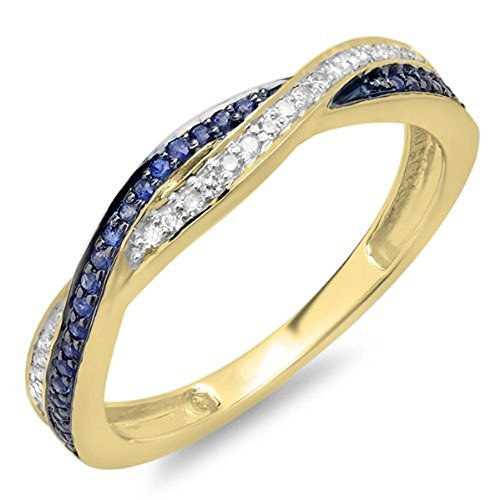 10K Yellow Gold Round White Diamond & Blue Sapphire Stackable Wedding Band Swirl Ring (Size 7.5)