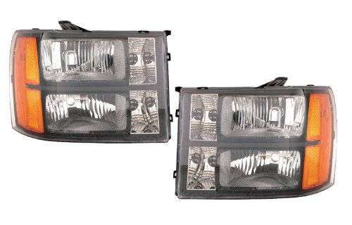 Depo Gmc Sierra 07-09 Euro Black Bezel Head Light - Headlights Black Euro Depo