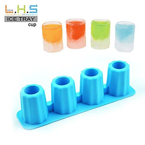 Vibola Hot New Bar Party Drink Ice Tray Cool Shape Ice Cube Freeze Mold Ice Maker Mould 4-Cup Ice mold cup Shot Shape Rubber Molds (Blue)
