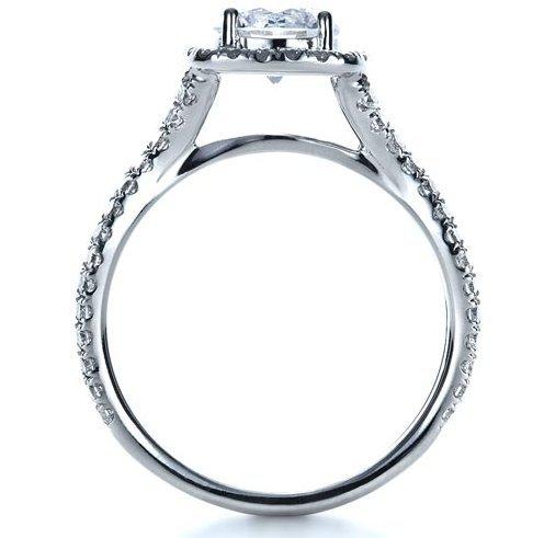 Gowe Halo 1CT Ascd imitation diamant Bijoux en or massif 9K Or blanc diamant de fiançailles bague de mariage Croix Band Halo Bague