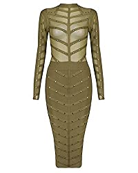 Whoinshop Women's Long Sleeve Studded Party Bandage Dress With Sheer Mesh
