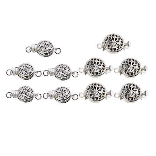 Baoblaze 10 Sets Beautiful Bead Round 1 Strand Box Clasps Filigree Flower Pinch Push Clasps for Jewelry Making Bracelet Necklace DIY Findings - 2 Sizes Styles - Clasp Round Strand Box