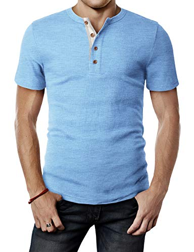 H2H Mens Casual Slim Fit Short Sleeve Henley T Shirts of Waffle Cotton HEATHERSKY US L/Asia XL (CMTTS240)