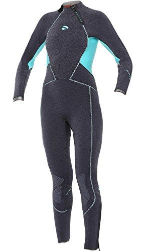 - Bare Women's 7mm Evoke Cold Water Elastek Full-Stretch Full Suit, Black Aqua, Size 2