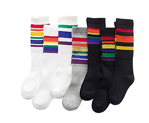 30abe8681d1 7 Pack Toddler Girls Boys Cotton Rainbow Pattern Stripe Knee High Stockings  Tube Socks (3~5 years) - Buy Online in Oman.