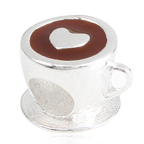Coffee Cup Charms with Brown Enamel 925 Sterling Silver Mug Charm Wine Glass Charm Cola Charm for DIY Charms Bracelets