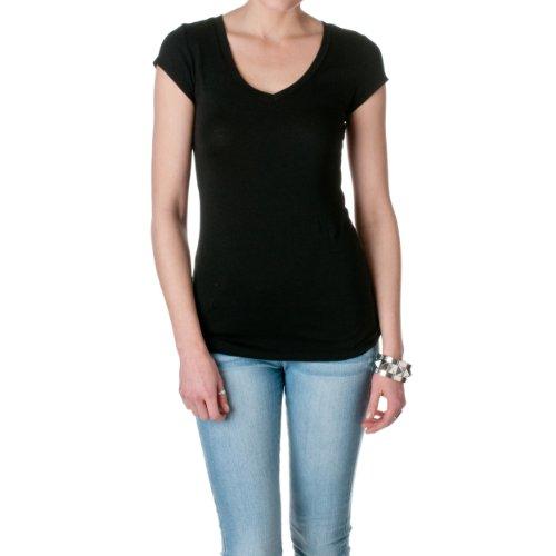 Active Basic Women's Short Sleeve V-Neck Tee, Black, Small