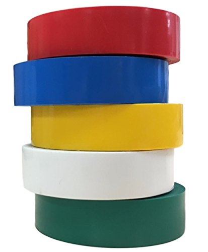 TradeGear Electrical Tape Assorted GLOSSY – 5 PACK Waterproof, Flame Retardant, Strong Rubber Based Adhesive, UL Listed – Rated for Max. 600V and 80oC Use – Measures 60' x 3/4