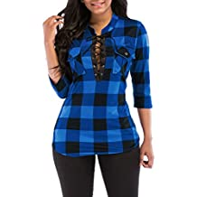 KISSMODA Women's Sexy Fitted Plaid Shirt 3/4 Sleeves Blouses V Neck Tie Front Tops with Pockets
