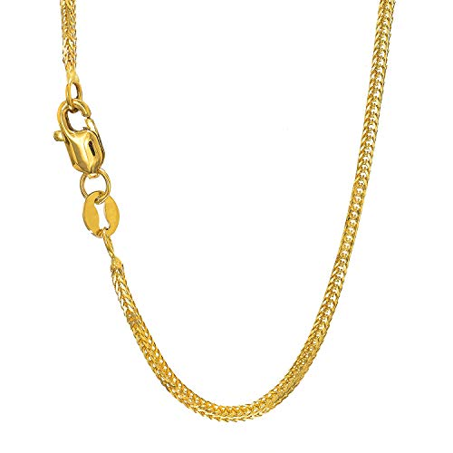 JewelStop 14k Solid Yellow Gold 1 mm Foxtail Chain Necklace, Lobster Claw Clasp - 16