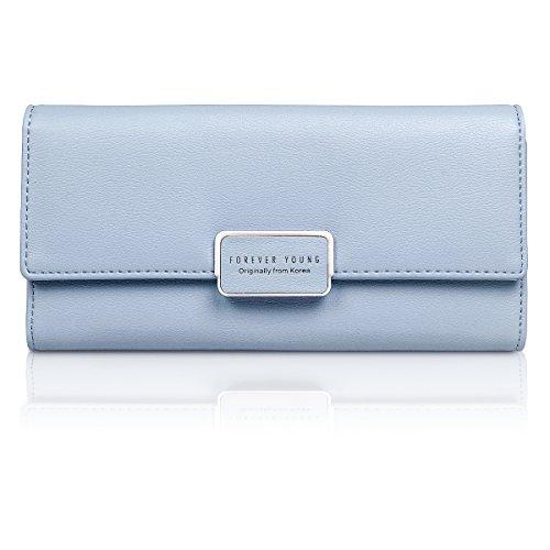 Fency Women's Multi-Card Faux Leather Wallet Long Tri-fold Matte Net Surface Purse - Card Gift Myer Discount