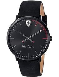 Scuderia Ferrari Mens ULTRALEGGERO ULTRA SLIM Quartz Resin and Leather Casual Watch, Color:Black (Model: 0830404)