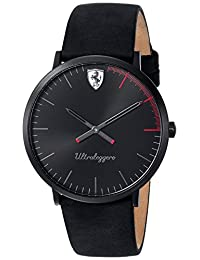 Ferrari Men's 'ULTRALEGGERO ULTRA SLIM' Quartz Resin and Leather Casual Watch, Color:Black (Model: 0830404)