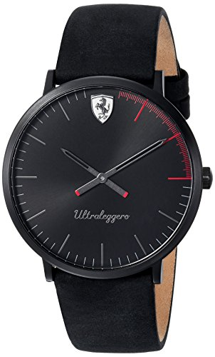 Scuderia Ferrari Men's 'ULTRALEGGERO ULTRA SLIM' Quartz Resin and Leather Casual Watch, Color:Black (Model: 0830404)