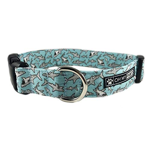 Shark Dog or Cat Collar for Pets Size Small 3/4'' Wide and 10-14'' Long by Oh My Paw'd by Oh My Paw'd