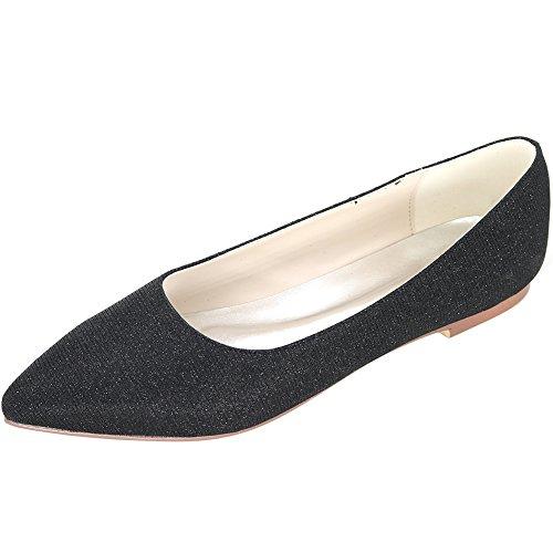 Loslandifen Womens Elegant Pionted Teen Wedding Ballet Flats Dress Shoes Black / 2046-07c