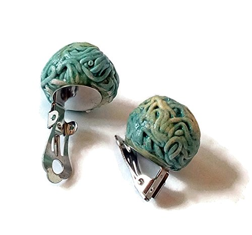 Textured ceramic clip on earrings, Portuguese (Ceramic Clip Earrings)