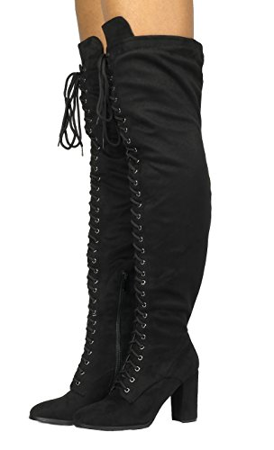 Heel Lace DREAM Boots Block Women's High Thigh The Over Knee Thigh High black Fashion PAIRS PPrq7wO