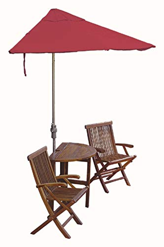 Blue Star Group Terrace Mates Caleo Deluxe Table Set w/ 7.5'-Wide OFF-THE-WALL BRELLA - Red Olefin Canopy (Wall Red Olefin Umbrella)