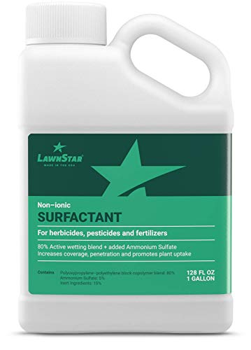 LawnStar Non-Ionic Surfactant for Herbicides, Pre-Emergents & Fertilizers (1 Gallon) - Increase Coverage, Penetration, Prevent Rolloff and Maximize Product Performance - American (Best Lawn Pre Emergents)