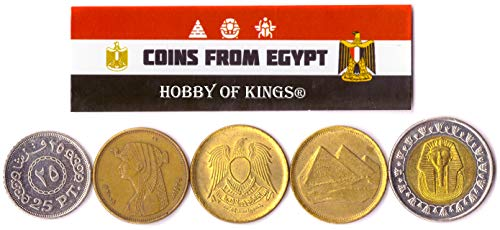 Hobby of Kings Different Coins - Old, Collectible Egyptian Foreign Currency for Collecting Book - Unique, Commemorative World Money Sets - Gifts for Collectors - Collection of 5