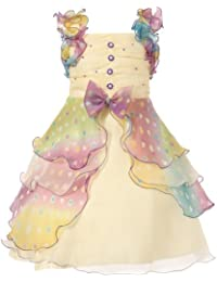 Girls' Dress with Pastel Ruffles and Pearls Size 3-12Y RH0920