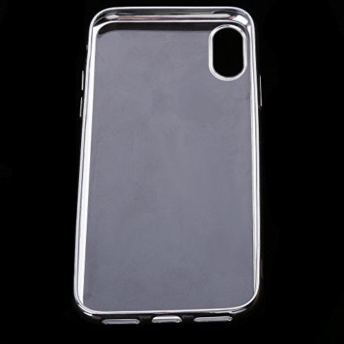 MagiDeal Cubierta Suave de TPU Carcasa de Chasis Piel Protectora para Iphone X 10 - Negro Plata