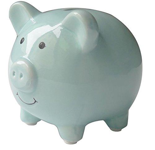 Shapenty Small Cute Ceramic Piggy Coin Bank for Kids, Blue