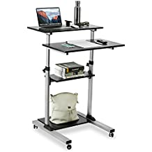 Mount-It! Mobile Stand Up Desk / Height Adjustable Computer Work Station Rolling Presentation Cart