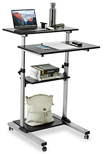 Mount-It! Mobile Stand Up Desk / Height Adjustable Computer Work Station Rolling Presentation (Adjustable Height Laptop Stand Steel)