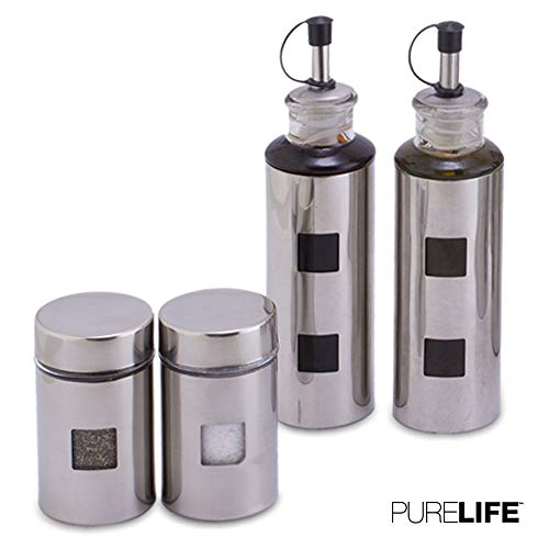Salt and Pepper Shakers & Vinegar and Olive Oil Dispensers for the Kitchen - Airtight Glass Condiment Jars & Refillable Bottles for Cooking - 4 Pc Set Covered in Elegant Protective Stainless Steel