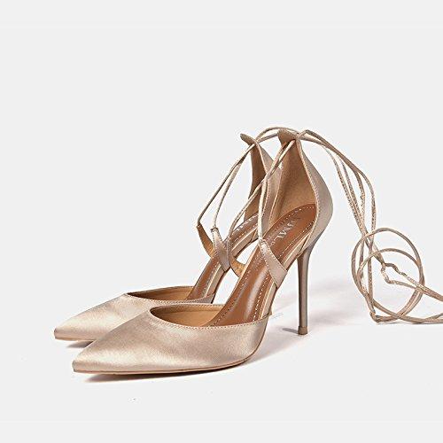GAOLIM Zapatos De Mujer Con Color Champán Señaló Los Zapatos De Tacón Alto 10Cm De Línea Con Tira Transversal Luz-Color Damasco Hembra Solo Zapatos Color champán