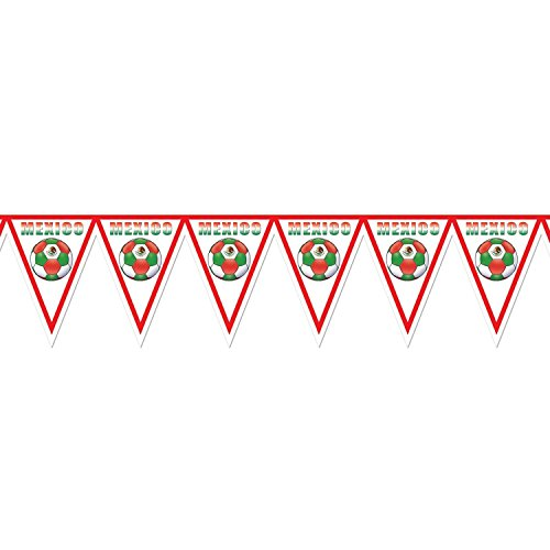Pack of 6 Red, White and Green ''Mexico'' Soccer Themed Pennant Banner Party Decorations 7.4' by Party Central