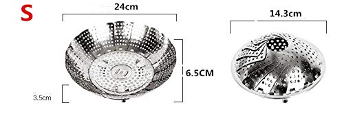 Assembly Basket Steamer (Garment Steamer for Clothes- Retractable Stainless Steel Food Fruit Vegetable Drain Basket Pan Steamer Poacher Cooker Steaming Tray Folding Steamer Bowl)