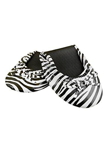 Solemates Portemonnee Pals Opvouwbare Boogvormige Ballet Flats Met Uitbreidbare Draagtas Voor Het Dragen Van Hakken Zebra (wit Met Zwarte Zebrastrepen)