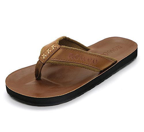 HUMMOO Men's PU Leather Flip Flops - Slip on Casual Thong Sandals (44EU / 11 US, Brown)