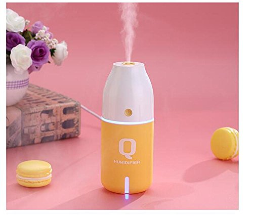 OOFYHOME Humidifier Colorful Night Light, Portable Cool Mist Ultrasonic Humidifiers for Night Light Mode, USB Powered and Whisper Quiet for Baby Bedroom Office Home Car-Bottle Design , Yellow