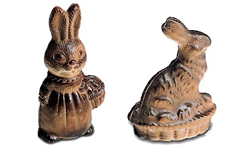 Front and Back Paderno World Cuisine Single Imprint Polypropylene 3.375 Inch Crouching Bunny Chocolate Mold