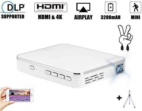Mini Projektor Mini Beamer Full HD 2000 Lumens, Tragbar Videobeamer 4K DLP 854 x 480 Filmprojektor mit HDMI Eingang für…
