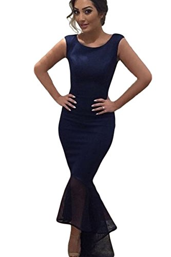 Damen Dunkelblau Tüll Mermaid Maxi Kleid Abendkleid Cocktail Kleid ...