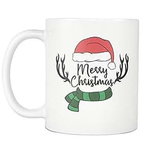 Merry Christmas Scarf Antler and Hat Mug - 11oz Coffee Mug or Tea Cup