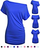 Women One Shoulder Tunic Tops for Leggings Convertible Ladies Blouse Blue XL