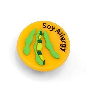 StickyJ USA Soy Allergy Rubber Medical Bracelet Button For Children