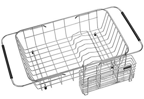 Expandable Dish Drying Rack and Utensil Holder,