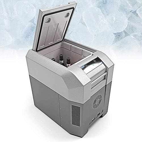 車の冷蔵庫、キャンプクーラークールバッグポータブルコンプレッサー冷凍冷蔵庫(24 33リットル)ミニACまたはDCクーラー| 食品飲料ワイン| 旅行のキャンプピクニック,グレー,24L
