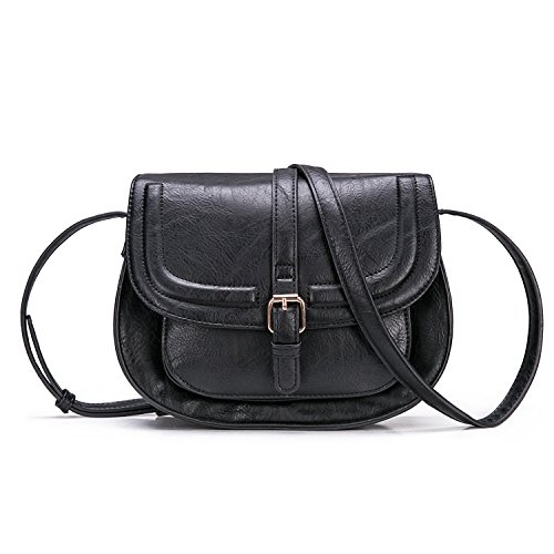 Small Purse Vintage Satchel for Women PU Leather Cover Hasp Crossbody Bag and Saddle Shoulder Bag with Long Adjustable - With Satchel Strap Small