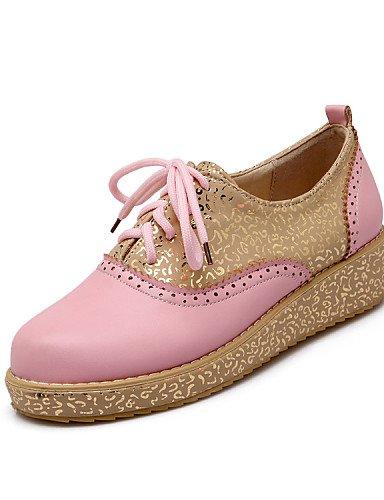 Sport Femme Uk4 Cn37 Jaune Chaussures Arrondi bout 5 Décontracté Rose Pink similicuir Njx talon marron us6 7 Blanc 5 Hug 5 Plat richelieu extérieure Eu37 xEX104q