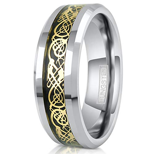 King's Cross Stunning 8mm Silver Tungsten Carbide Wedding Band w/Gorgeous Gold-tone Celtic Dragon Inlay on Black. (tungsten (8mm), - Cross Tone Celtic Gold
