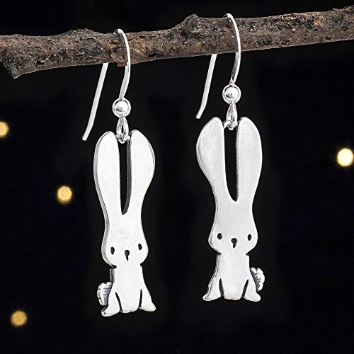 Sterling Silver Bunny Rabbit Earrings - Double Sided - Solid .925 Sterling Silver, Ready to Ship